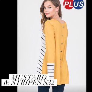 Long sleeved mustard & Stripes top